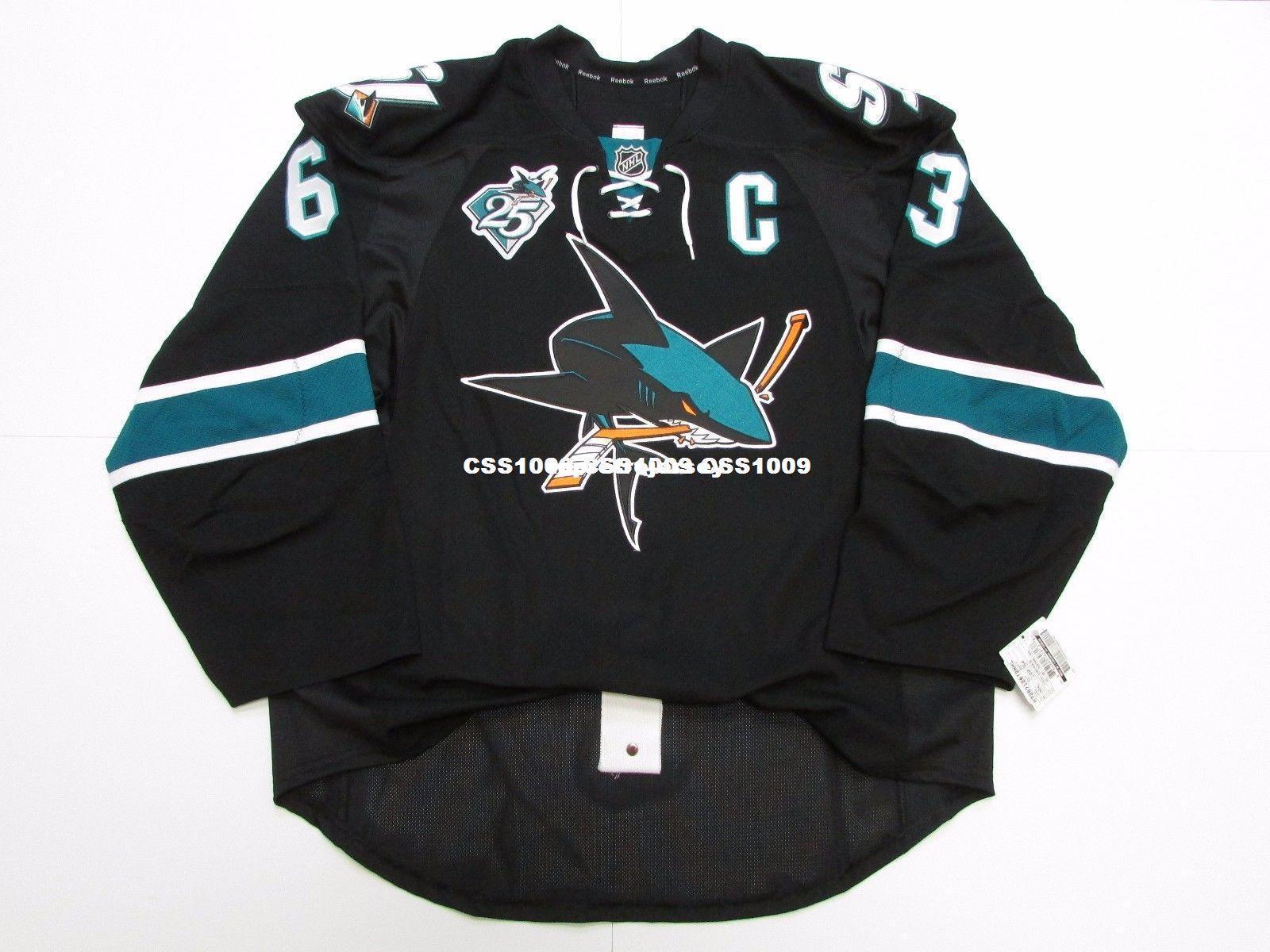 SAWYERS feitos sob encomenda baratos Nº 63 SAN JOSE SHARKS TERCEIRO 25o JERSEY ponto adicionar qualquer número qualquer nome Mens Hockey Jersey XS-6XL