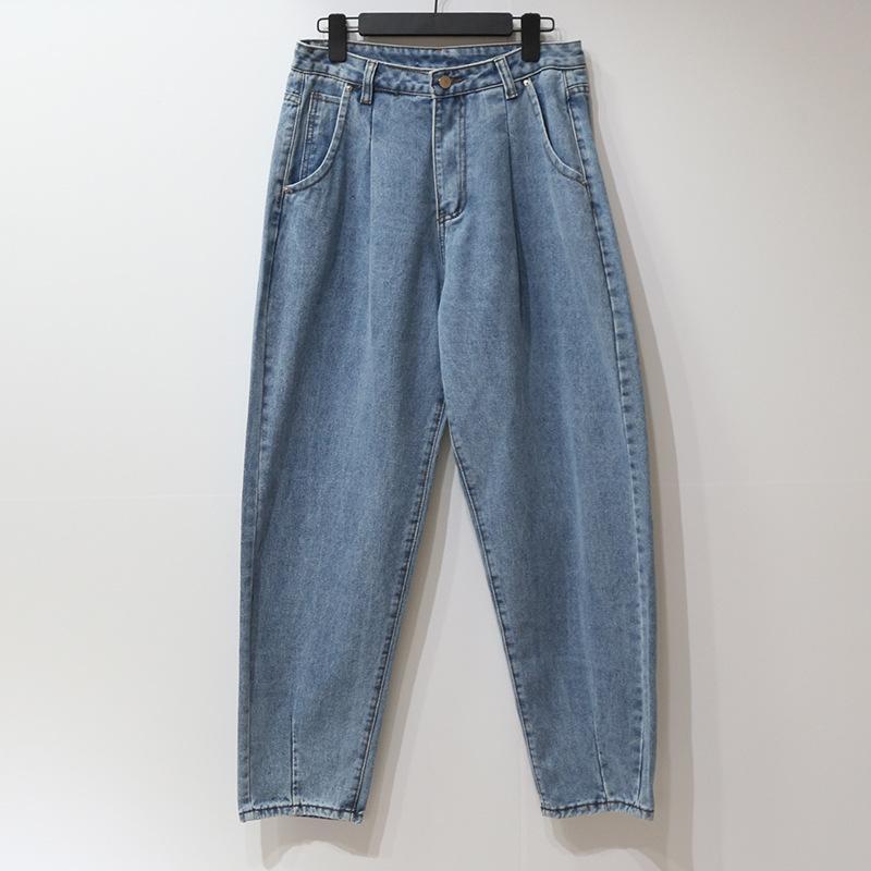 Feminino jeans de cintura alta emagrecimento Primavera e Outono Moda All-jogo lavável Hetero plissadas soltos Harlan Denim Trousers