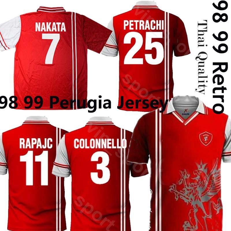 2020 بيروجيا الرجعية لكرة القدم جيرسي 98 99 Associiazione Calcistica بيروجيا 1998 1999 Calcio Nakata Rapajc Perrachi خمر كلاسيكي كرة القدم الأعلى