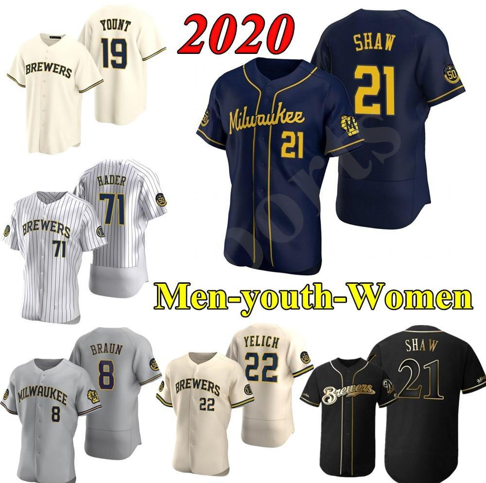 Baseball Uomo Donna 22 Christian Yelich 2020 Stagione Josh Hader Woodruff Lorenzo Cain Ryan Braun Brent Suter Arcia Brewer Maglie