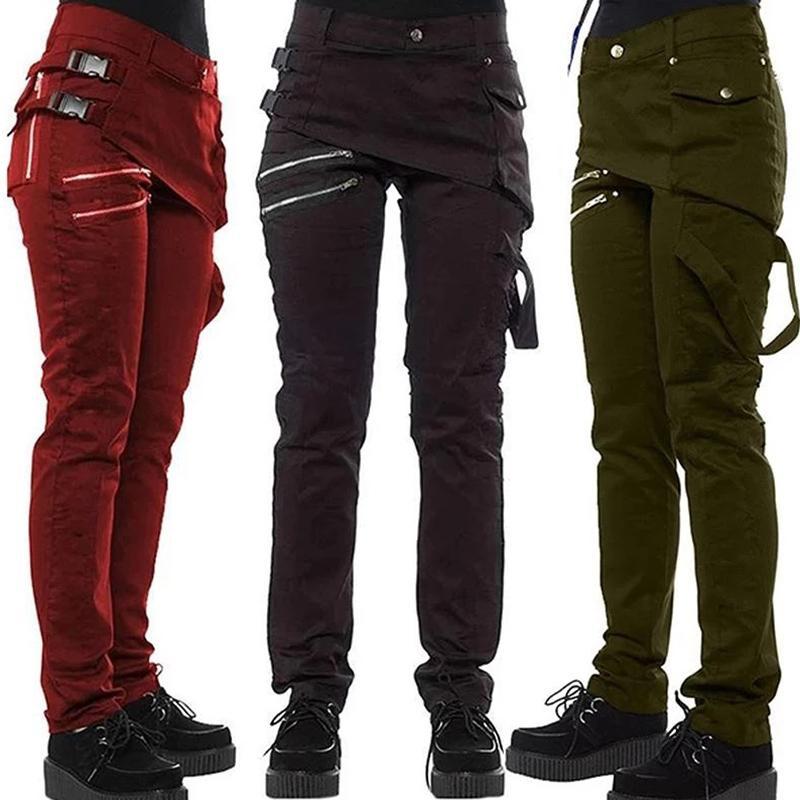 Pantalones nueva cremallera de las mujeres góticas Steampunk Bolsillos remache Pantalones Pantalones estilo rock MV66