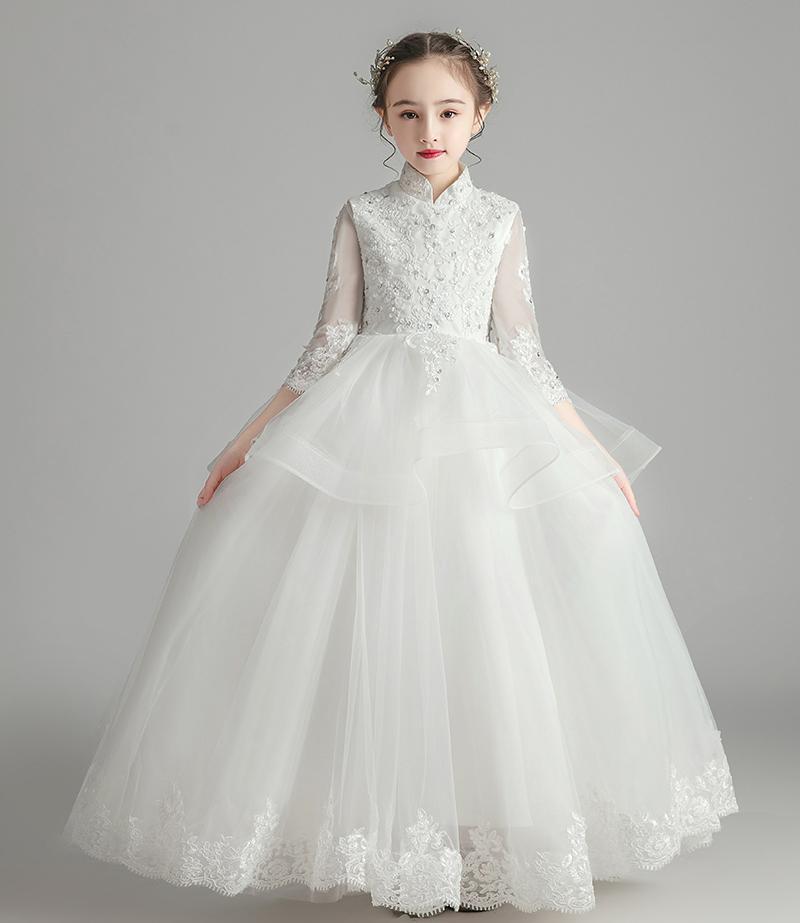 Belle Ivoire manches Applique Perles fille Pageant Robes fleur filles Robes filles de robe formelle Robes de vacances personnalisée SZ 2-12 DF705184