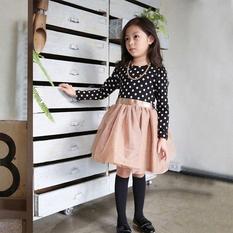 Spring New Baby Girls Dresses Girls Princess Dress For Long Sleeve Polka Dots Children Clothing Kids Party Dress NIrX#