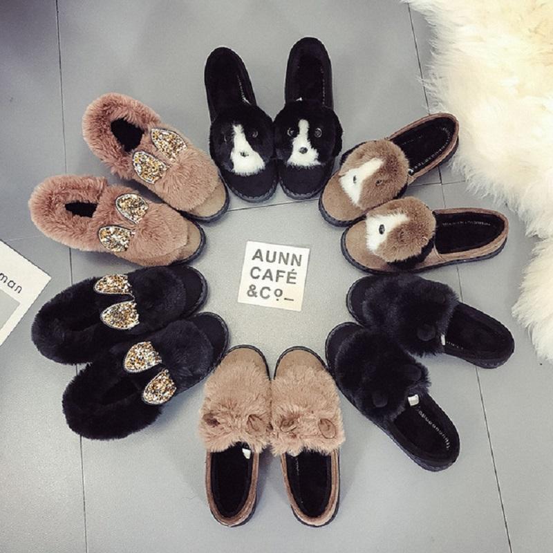 Pamuk terlik kadınlar kalın tabana vurma kaymaz Mao Mao ayakkabıları ile peluş sevimli sonbahar ve kış aşınma sıcak ev 2020 yeni çanta