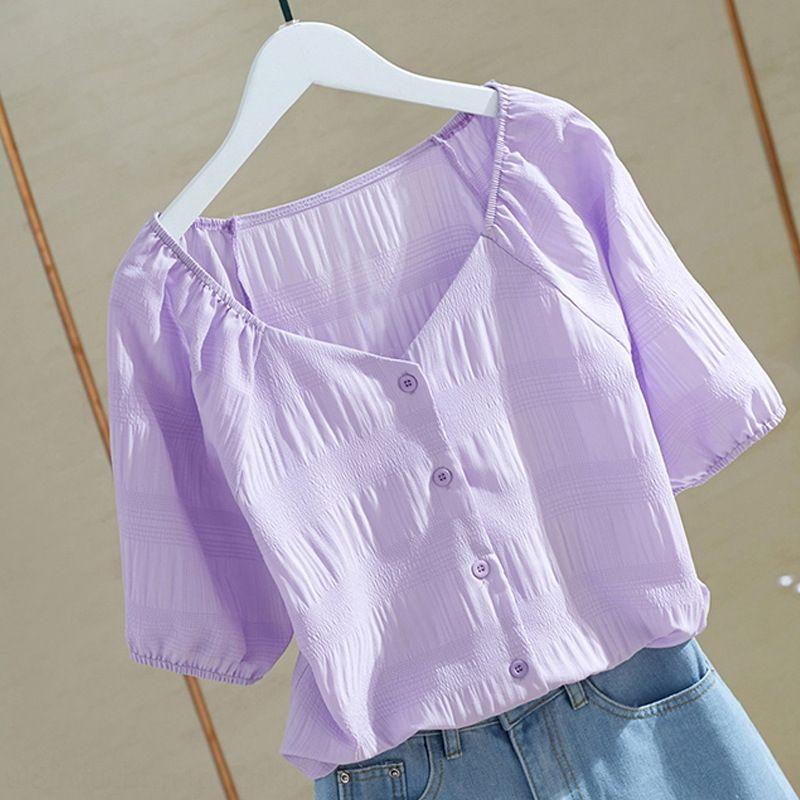 Coréen Dongdaemun vêtements d'été bulle rides col V Chemise à manches doux simple chemise gilet minceur unique poitrine de femmes