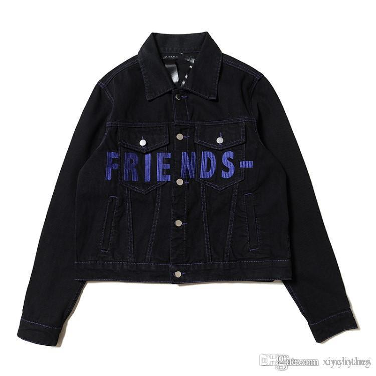Europe American Tide Brand Autumn Winter Teenager Personality Hit Color Retro Denim Letter Patch Denim Jacket