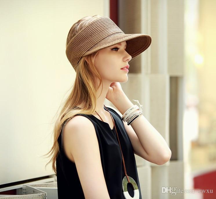 Südkoreas neuer Frauenkopfbedeckung oben ohne große Krempe Sonne Sonnenschutz Hut Falten Sonnenhut Sommer Stroh