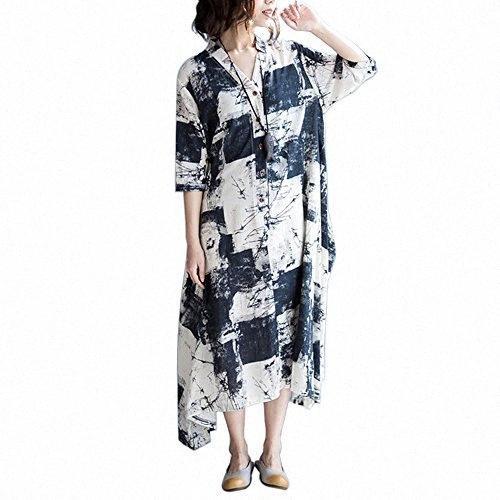 Womens Moda SIMSHION Impresso Floral Botão Vintage Frente 3/4 Maxi vestido longo vestidos bonitos para ocasiões especiais vestido branco RRMI #