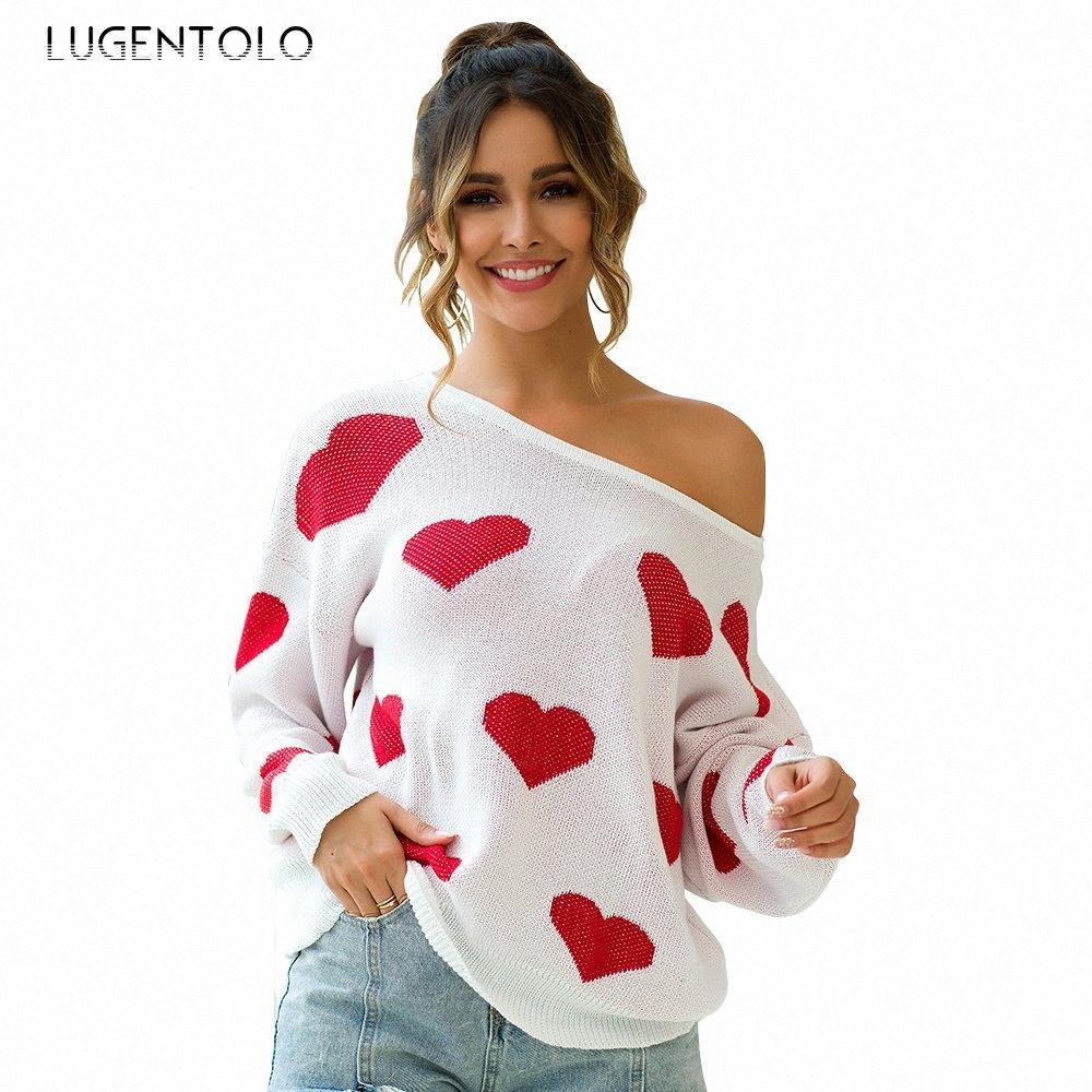 Lugentolo Pullover Frauen-beiläufige Herbst-Winter-Cozy New Drei Farben-Druck-Herz-reizvolle geöffnete zurück lange Hülse lose Lady Pullover MBBL #