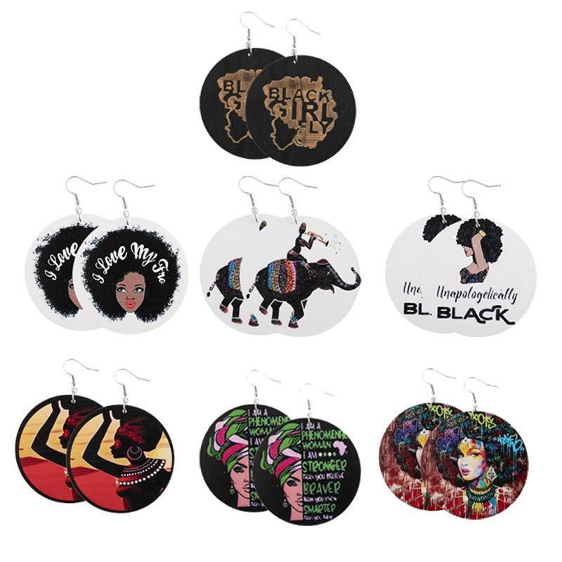Géométrie de la mode Boucles d'oreilles en bois rondes Pendule imprimée Femme portrait lettres boucles d'oreilles Afro Cartes Forme Shape Ear Crochet Ehemdrop Femmes Cadeaux
