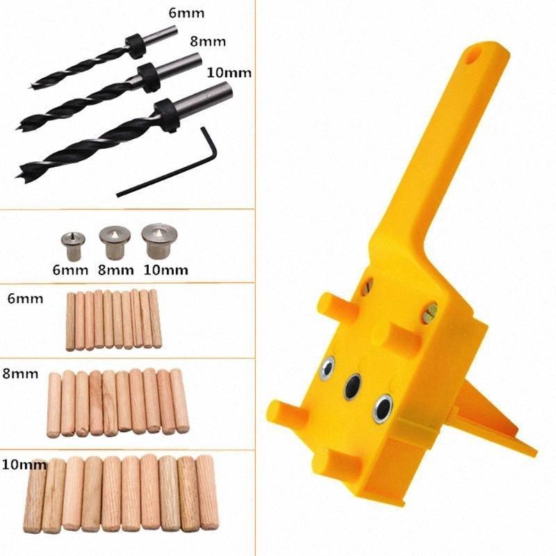 Tratamiento de la madera de mano enclavijar plantilla de perforación del taladro Espiga de Madera perforación del agujero Bit sierra de perforación herramientas perforadora de tratar madera 67GF #