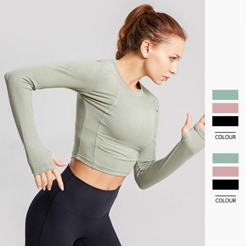 Yoga Outfits Sexy Crop Top Seamless Long Sleeve Sport Fitness Women Gym Shirt Workout Tops For
