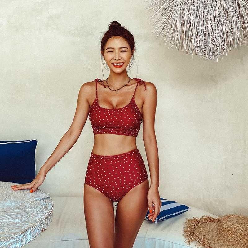 Корейский стиль бикини Set Женщины Biquini костюм Две пьесы купальник высокой талией Купальник Dot Бич костюм 2020 Femme купальники