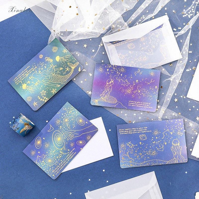 Xinaher Golden Mermaid Starry Sky Postcard Greeting Card Christmas Card Birthday Gift Cards Personalised Birthday Card Personalised Bi Bcow Free Birthday Greetings Online Free Birthday Online Cards From Walmarts 20 66 Dhgate Com