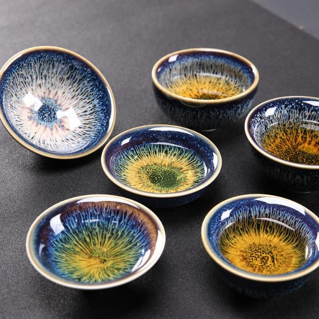 2020 Kung fu tea set Ceramic Tea cup chinese travel set Coffee cups Colorful Tianmu glaze built tea cupTeacup