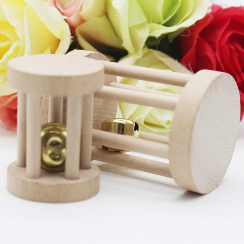 Cute Natural Wooden Rabbits Toys Pine Dumbbells Unicycle Bell Roller Chew Toys for Guinea Pigs Eat Small Pet Molars Supplies