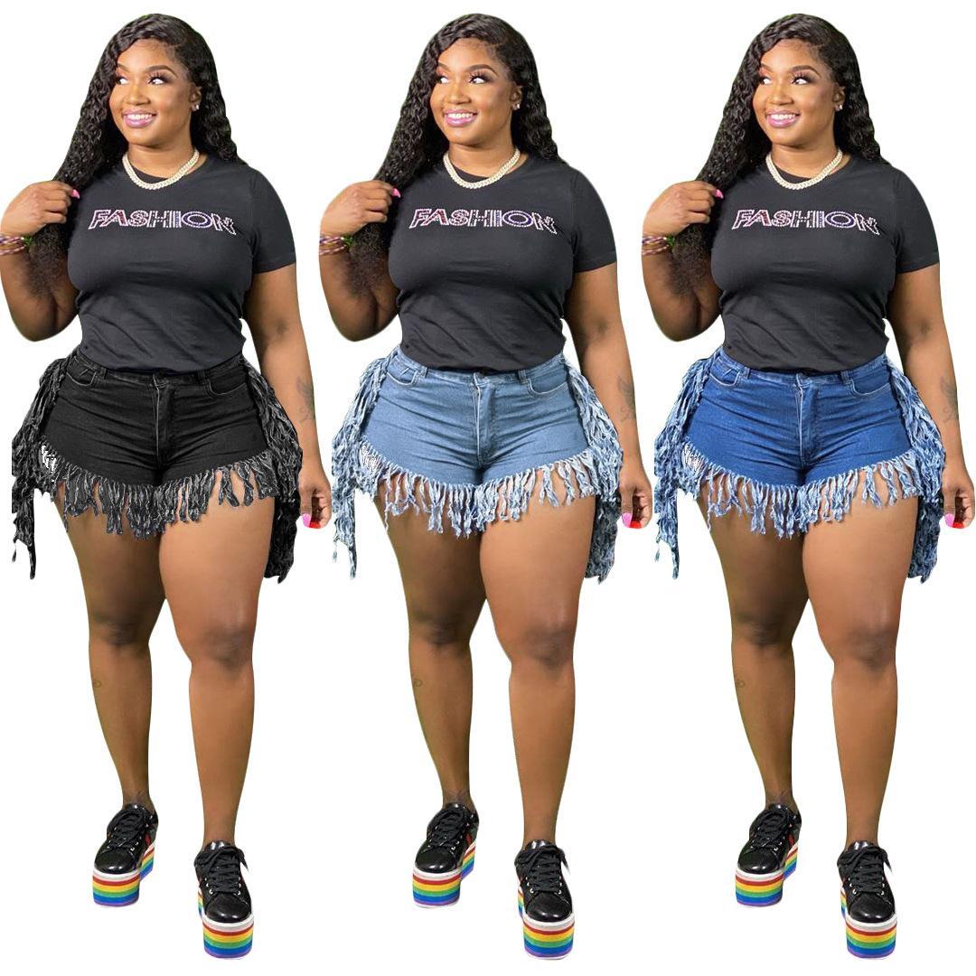 2020 vendita calda di estate vita alta Donne nappe denim shorts nuovo modo con Cerniera Tasche straght jeans casual Clubwear Pantaloncini femminile