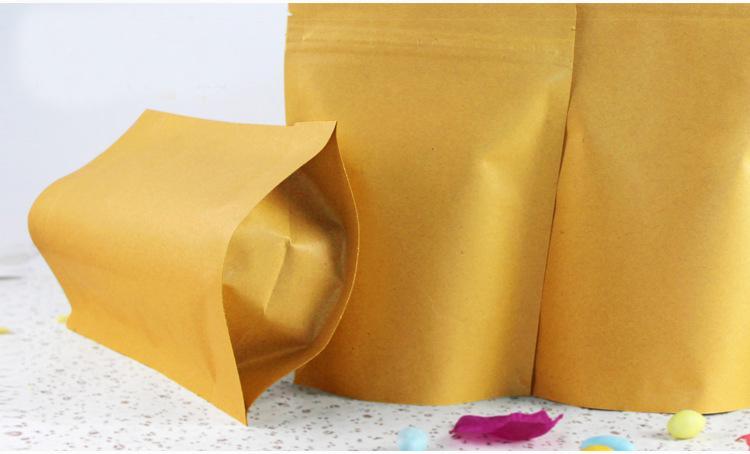 13 * 18,5 + 4cm 1000pcs pé sacos de papel para cima da folha de alumínio Brown kraft com bloqueio Zipper para a Alimentação / Chá / Nut Resealable Embalagem Bag