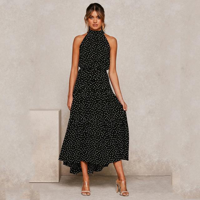 Sexy Summer Long Dress Pois casuale Midi nero abiti senza spalline Halter Nuovo giallo Vestito estivo vestiti di vacanza per le donne