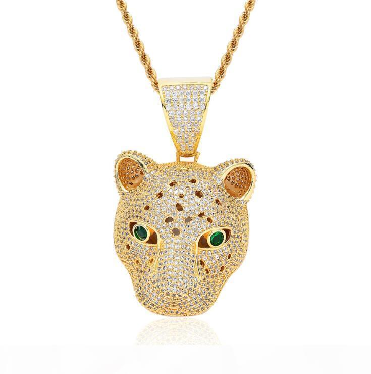 Neue Hip-Hop-Anhänger mit Zirkon Leopard Kopf und glänzenden Tiere Halskette