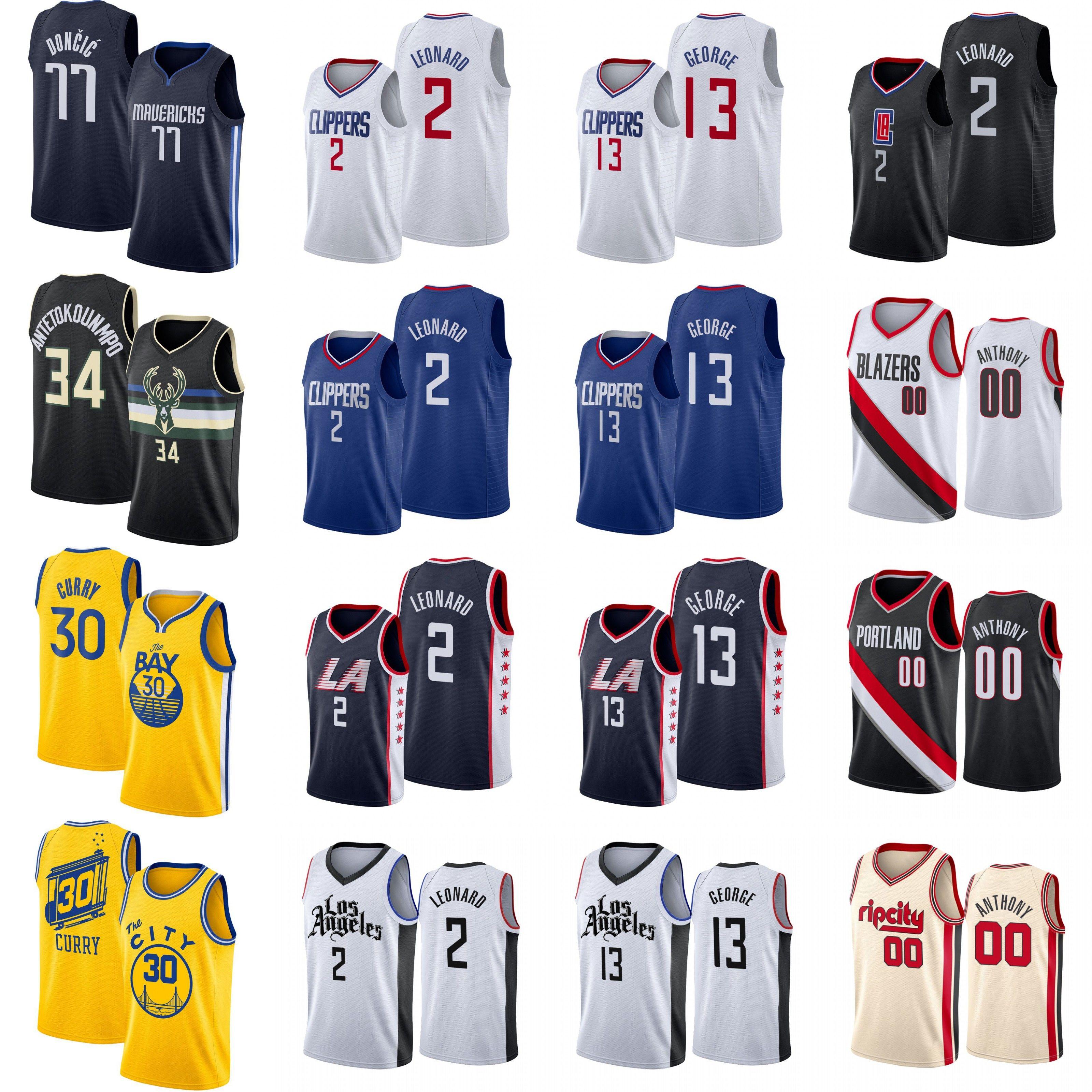 Carmelo Anthony 00 camisetas de baloncesto Stephen Curry 30 2 13 escolares Leonard Paul George Giannis 34 Antetokounmpo 77 Doncic NCAA Instituto de