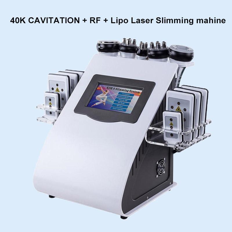 Qualitäts neue Modell 40k Fettabsaugung mit Ultraschall Cavitation 8 Pads Laser Vacuum RF Hautpflege Salon Spa Schlankheits-Maschine DHL-freies Verschiffen