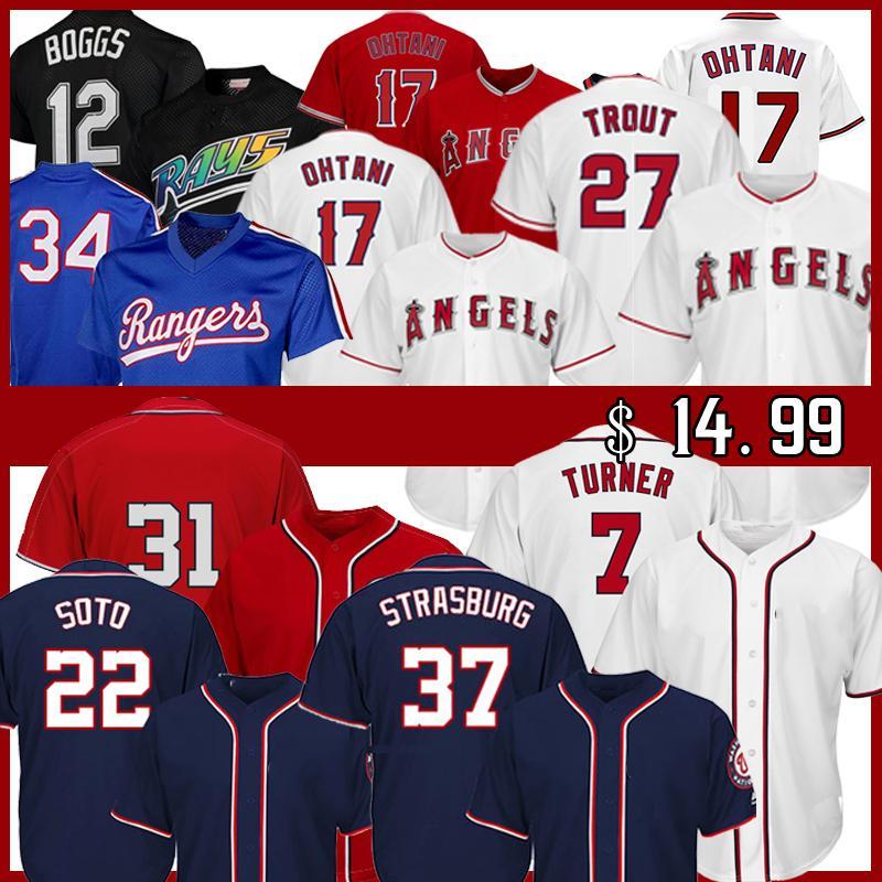 22 Juan Soto 27 Mike Trout Jerey 17 Shohei Ohtani 7 Turne Turner 37 Stephen Strasburg 12 Wade Boggs Max Scherzer Baseball Jerseys