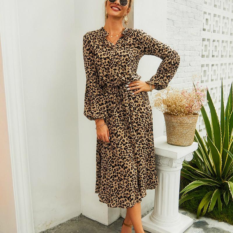 Leopardo de invierno Imprimir Medio Botón cazadora camisa de vestido de partido atractivo vestido de las mujeres de manga larga vestidos de noche del partido del club Vestidos