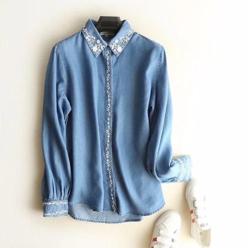 Şık bluzlar kadın Tencel Denim Gömlek bahar bayanlar Uzun Kol Nakış Bluz gömlek gündelik Kadın Jeans giyim başında