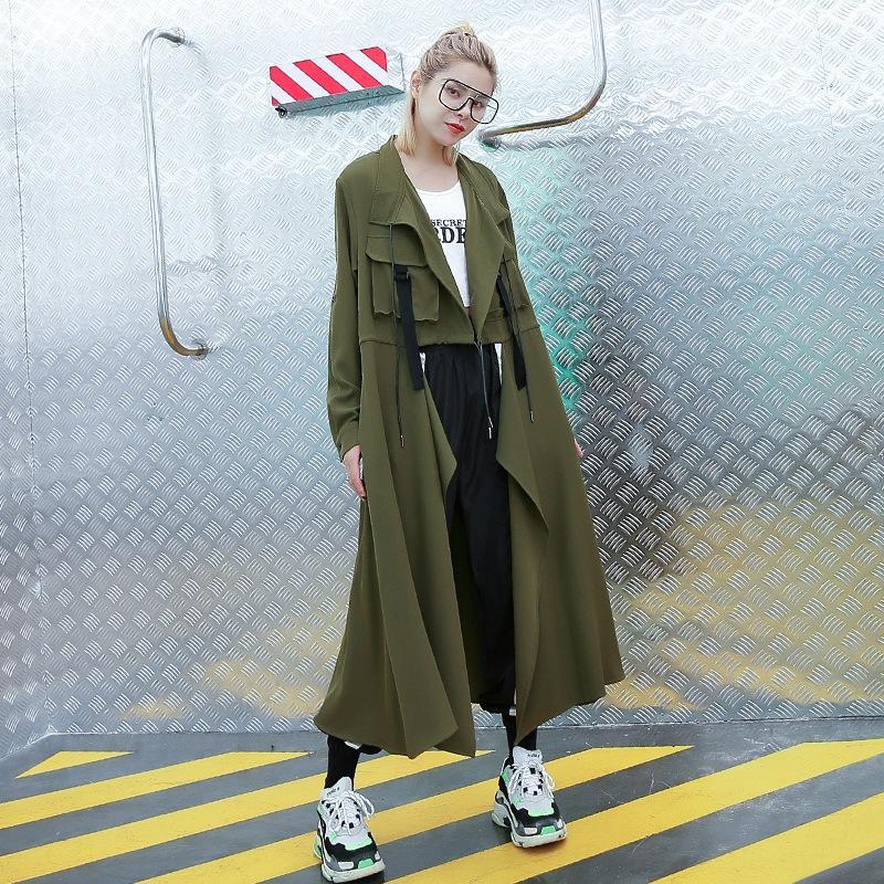 WsKii японские и корейская ветровка пальто большого размера женщины осенью сплошной цвет пряжка бесплатно тонкая ветровка женщины случайный свободные середины lengt