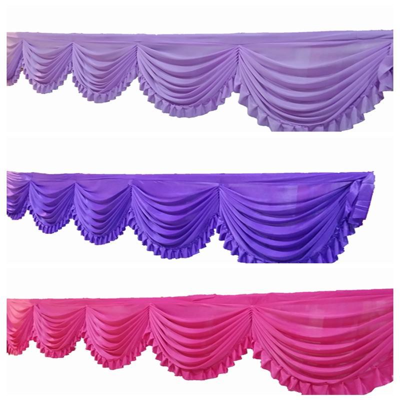 6m Ice Silk Ganhos Drape Valance Fir para o contexto Cortina Tabela saia Estágio do casamento Fundo da cortina Decoração
