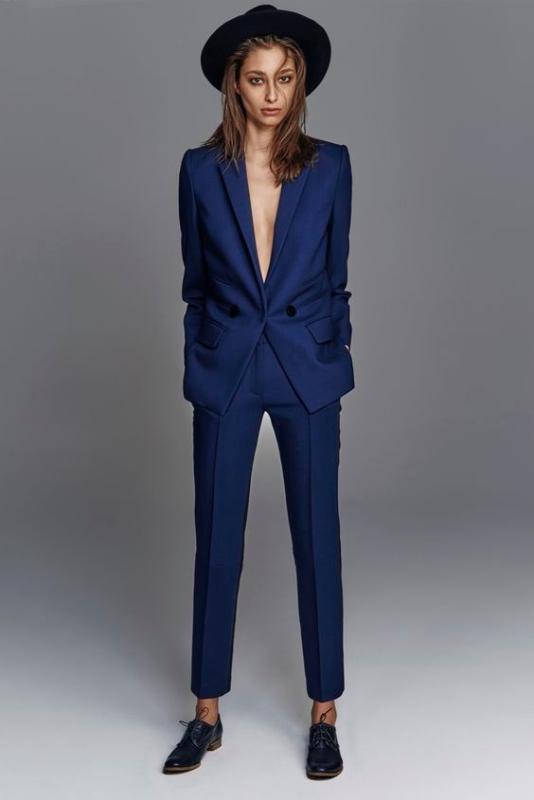 Trajes A MEDIDA mujeres de negocios trabajo de las señoras Traje Formal Trajes Oficina de las bragas elegantes para las bodas Tuxedo Blazer Pantalones Traje W46