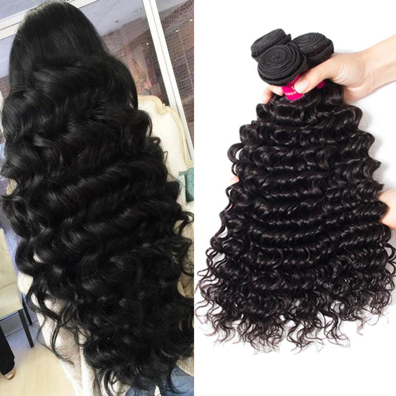 Оценка 9А норка Бразильская прямо Объемная волна Свободная волна Kinky завитые глубокая волна волос 100% Необработанные Бразильский Virgin человеческих волос Weave Связки