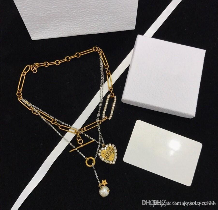 2020 Spring / Summer Love Brand Fashion Pearl Designer Jewelry Luxury Custom Imported Brass With Pearl Three-layer Necklace