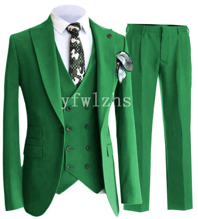 New Style Un bouton Beau pic Lapel smokings marié hommes Costumes de mariage / Prom / Dîner Best Man Blazer (veste + pantalon + cravate + Gilet) W265