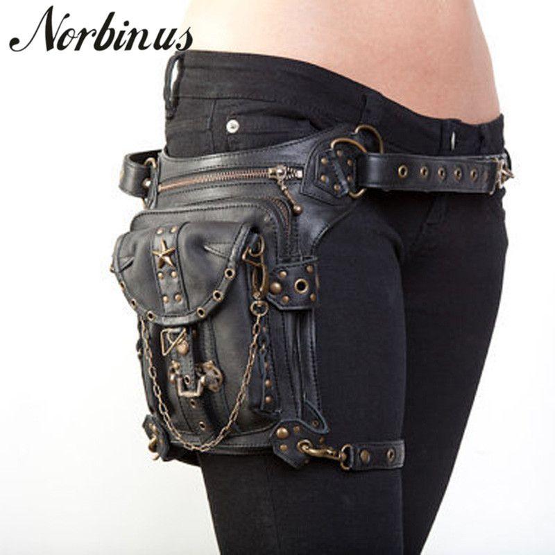 Norbinus Steampunk cintura perna Bags Mulheres Homens Estilo Vitoriano Holster Bag Motorcycle Coxa Hip Belt Packs do Messenger Bolsas de Ombro MX200717