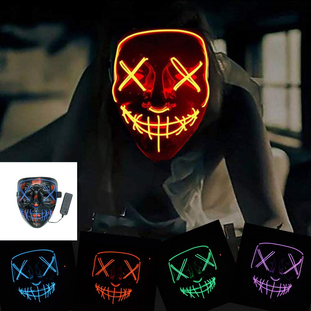 Máscara de Halloween LED de neón del resplandor de Máscaras en el partido Maske oscuro Mascaras horror Mascarillas Carnival Maska asustadiza Máscara Luz enmascarador