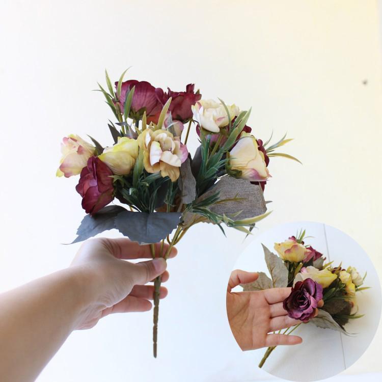 Fiori artificiali fai da te della seta Piccolo Rose Wedding Bouquet Xmas Decor partito autunno cadono colori Rosa Fake Flowers Wedding decorazione domestica