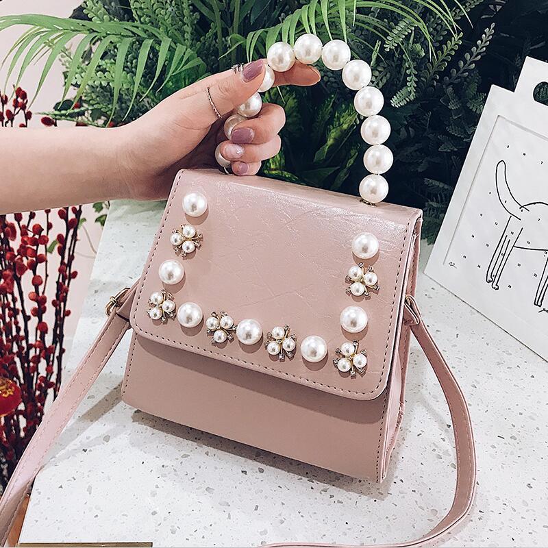 Factory wholesale women handbag foreign Pearl decorative women shoulder bag sweet little fresh Pearl handbag trend leather messenger bag