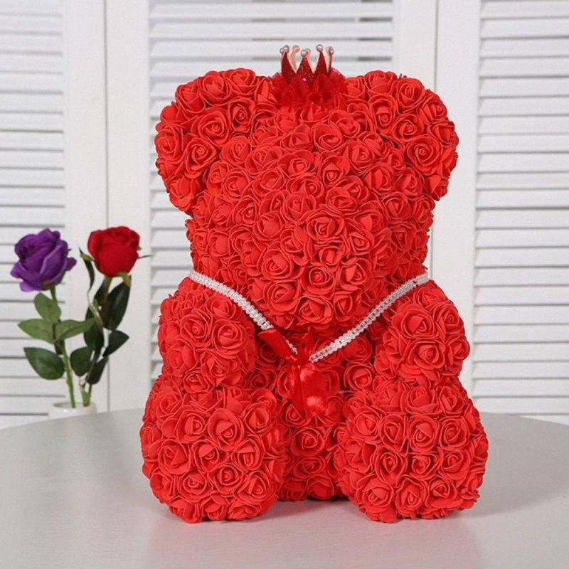 День Святого Валентина подарок красная роза плюшевый мишка розовый цветок искусственные украшения рождественские подарки женщин Valentines подарок 7ZYO #