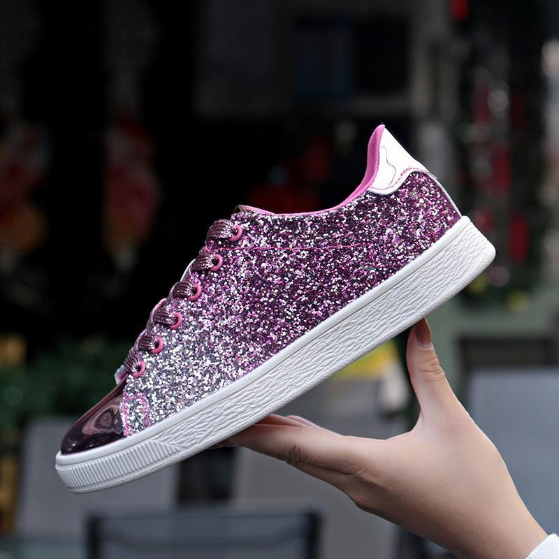 Women/'s Girls Round Toe Shiny Lace Up Casual Sneakers Fashion Flats Board Shoes