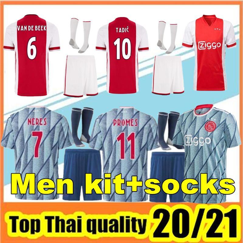 Высочайшее качество 2020 2021 Ajax FC Soccer Technsys Мужские Наборы 2020/21 Camisa Neres Tadic Huntelaar de Light Vent De Beek Футбольные рубашки
