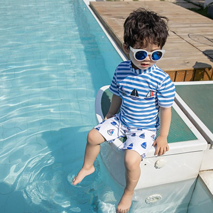 Summer Children Swimming Suit For Boys Two Pieces Baby Boy Swimwear Bathing Suit Kids Swimsuit With Cap Child Swimming Costume