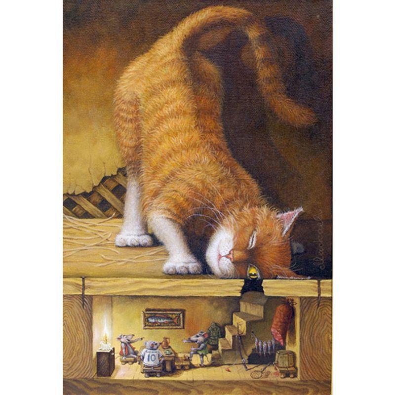 Cat Cabinet Full Drill 5D Diamond Round Rhinestone Embroidery Painting DIY Cross Stitch Kit Mosaic Draw Home Decor Gift