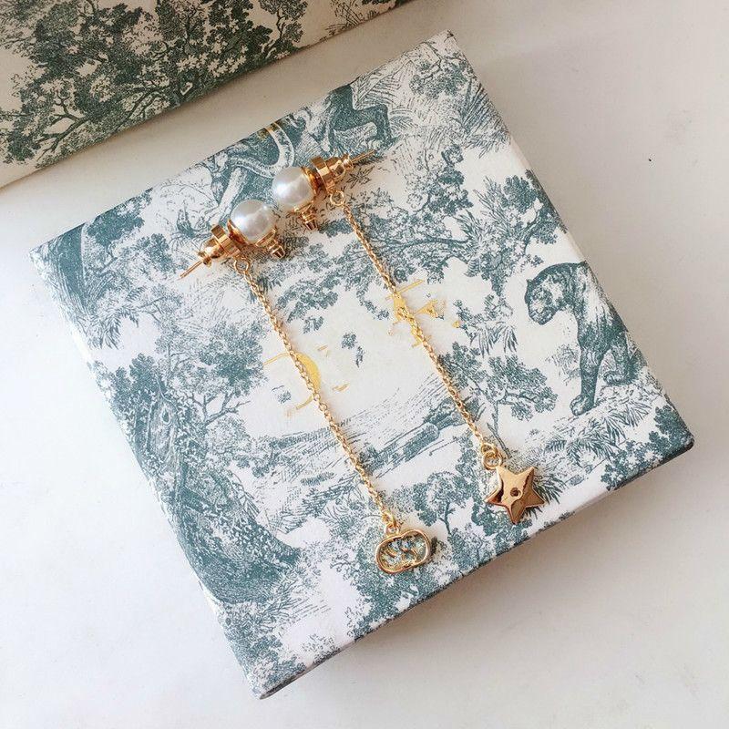 D casa de cinco esquinas estrella de aretes de perlas borla 925 aguja de plata anillo de oído cd joyería de gama alta de las mujeres
