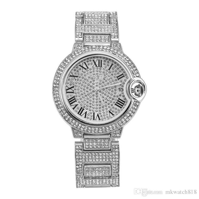 Qualitäts-Frauen-Uhr-Shinning Diamant Uhren Voll Iced Out Uhr Entwurf Edelstahl-Quarz-Bewegungs-Männer Frauen Paar Uhren