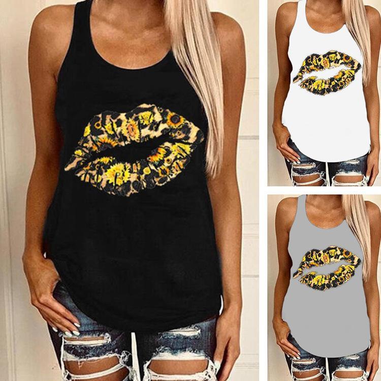 prendas de vestir de lujo de moda leopardo de girasol Top del verano de las mujeres del tanque femals