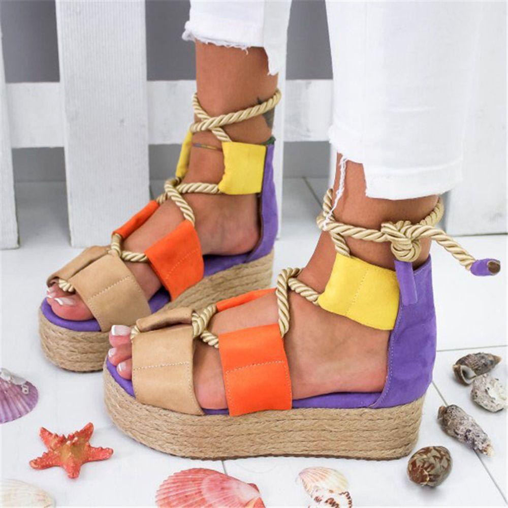 Litthing 2020 Torridity Frauen Flache Sandalen Seil Weibliche Strand-Schuhe befestigen Schuhe Ferse Bequeme Sandalen Schuhe Femme