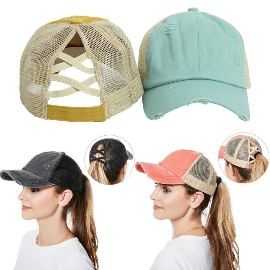 Çapraz at kuyruğu Şapka Pamuk Snapback Dağınık Bun Yaz Güneşlik Açık Parti Şapkası LJJO8258 Caps Yıkanmış Criss