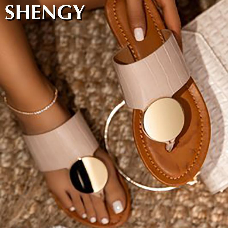 2020Women Schuhe Sommer-Strand-Slipper Mode-Metal-flache Fersen Slipper Frauen-Sommer-Damen Sandalen Slip-on-verursachenden Flip Flop